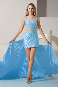 Straps Beaded Aqua Blue Mini-length Prom Dress with Detachable Train