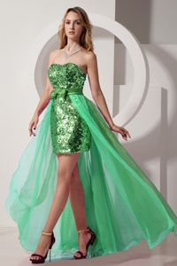 Pretty Green High-low Sequin Chiffon Seniors Prom Dress with Bowknot