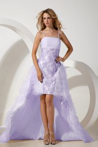 Cheap Spaghetti Straps High-low Lilac Prom Dress for Slim Girls Patterns