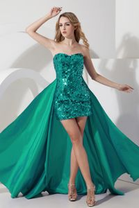 Beautiful Sequins Turquoise Semi-Formal Prom Dress with Detachable Train