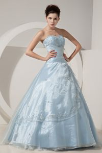 Princess Lace-up Light Blue Prom Outfits with Embroidery Fast Shipping