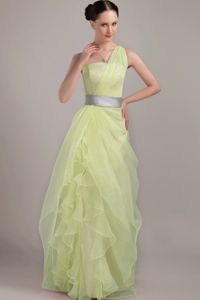 Beautiful One Shoulder Yellow Green Formal Prom Dress Free Shipping