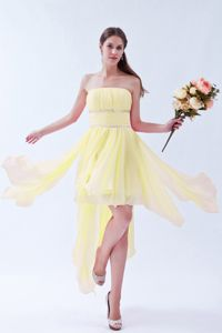 Girly Strapless Ruched Beaded Chiffon Light Yellow Prom Dress for Seniors