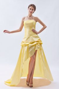 High-low Strapless Yellow Prom Attire with Pick-ups in Englishtown NJ