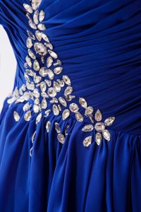 Sweetheart Royal Blue Long Prom Dress for Summer with Rhinestones