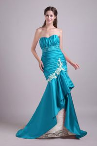 Mermaid Sweetheart Long Teal Formal Prom Dress for Slim Girls with Appliques