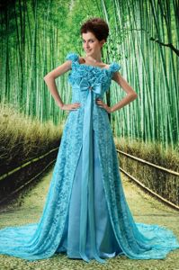 Square Neck Zipper-up Lace Aqua Blue Formal Prom Dress with Flowers and Bow