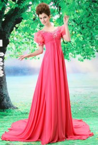 Unique Court Train Short Puffy Sleeves Coral Red Prom Dress with Beading