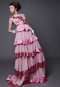 Clearance One Shoulder Tiered Pink Prom Dress with Flowers in Englewood NJ