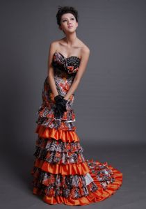 Fabulous Printing Beaded Multi-color Formal Prom Dress with Ruffled Layers