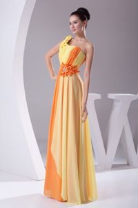 Discount One Shoulder Orange and Yellow Long Prom Dress with Flowers