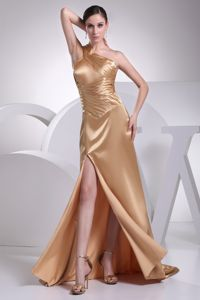 2013 Newest One Shoulder Slitted Formal Prom Gowns in Champagne