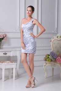 Cheap Taffeta One Shoulder Ruched Mini Silver Prom Dress for Cocktail Party