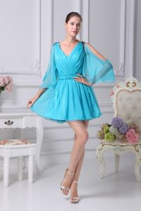 Latest V-neck Baby Blue Mini Prom Dress with 1/2 Open Sleeves about 100