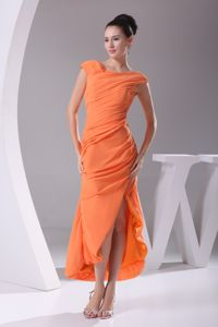 Cap Sleeves Scoop Neck Orange Red Prom Outfits with Asymmetrical Hem