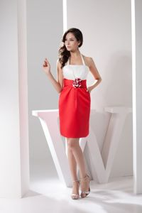 White and Red Halter Top Dresses for Prom with Handmade Flower