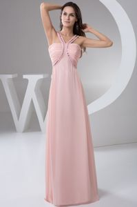 Beaded Straps Ruched Baby Pink Semi-formal Prom Dress in Carrollton