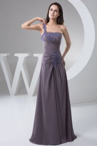 One Shoulder Ruched Appliqued Senior Prom Dress in Flower Mound