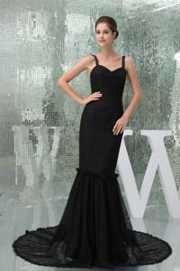 Mermaid Straps Black Prom Gown Dress with Court Train in Denton