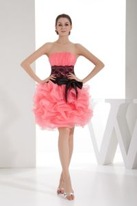 Lace Strapless Short Watermelon Prom Dress with Pick Ups in Georgetown