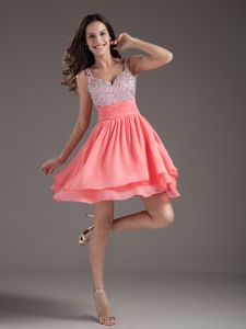 A-Line Straps Short Pink Prom Dress with Beading in Flower Mound