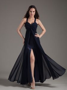 Beaded Navy Blue Straps Ankle-length Prom Dress in Georgetown TX