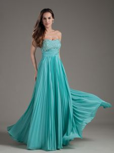 Turquoise Strapless Long Beaded Prom Gown Dress in Flower Mound