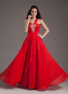One Shoulder Floor-length Chiffon Beaded Prom Dress in Red in El Paso