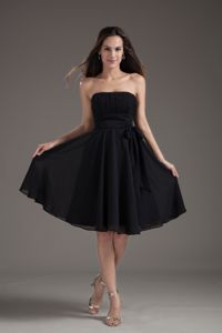 Black Strapless Chiffon Informal Prom Dress with Sash in Beaumont