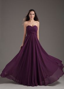 Sweetheart Dark Purple Ruched Formal Prom Dress in Chiffon in Carrollton