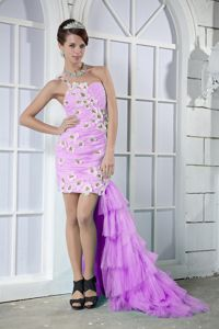 One Shoulder High-low Beaded Hand Flowery Prom Dresses in Pink