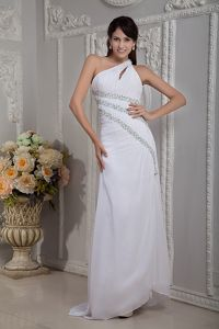 White One Shoulder Beaded Elegant Prom Dress with Brush Train in El Paso
