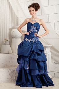 Navy Blue Sweetheart Sexy Prom Dress with Appliques Brush Train