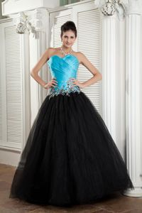 Sweetheart Tulle Prom Attire in Baby Blue and Black with Appliques
