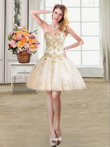 Affordable Mini Length Champagne Prom Dress Tulle Sleeveless Beading