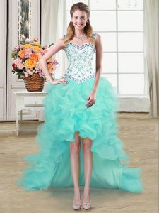 Pretty High Low Aqua Blue Straps Sleeveless Lace Up