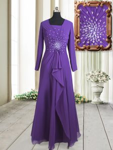 Chiffon Square Long Sleeves Zipper Beading Prom Gown in Purple