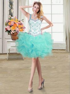 Inexpensive Straps Mini Length Ball Gowns Sleeveless Aqua Blue Prom Party Dress Lace Up