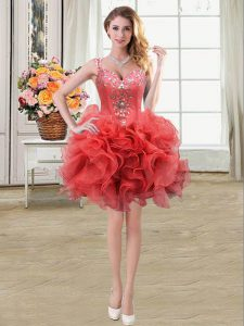 Straps Coral Red Sleeveless Mini Length Beading and Ruffles Lace Up Prom Dresses