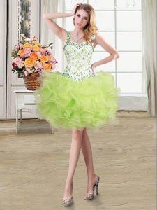 Straps Yellow Green Sleeveless Beading and Ruffles Floor Length Prom Dress