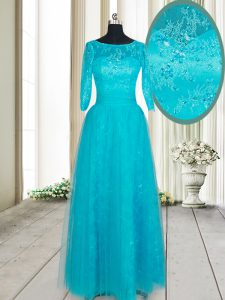 Scoop Floor Length Empire Half Sleeves Teal Prom Dresses Zipper