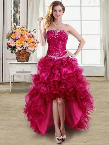 Discount Fuchsia Lace Up Prom Gown Beading and Ruffles Sleeveless High Low