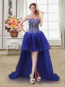 Royal Blue Sleeveless Beading and Sequins High Low Prom Dresses