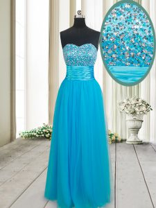 Custom Fit Baby Blue Empire Tulle Sweetheart Sleeveless Beading Floor Length Lace Up Prom Party Dress