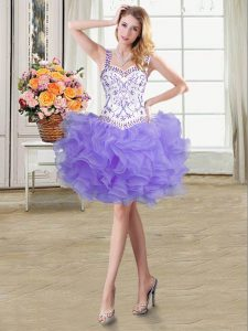 Exceptional Mini Length Lavender Evening Dress Straps Sleeveless Lace Up