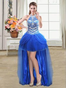 Deluxe Halter Top Sleeveless High Low Beading and Pick Ups Lace Up Prom Dresses with Royal Blue