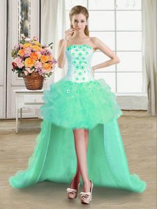Turquoise Tulle Lace Up Evening Dress Sleeveless High Low Beading and Appliques and Ruffles