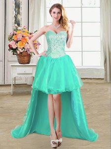 Pick Ups Turquoise Sleeveless Organza Lace Up Prom Dress for Prom and Party