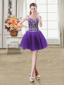Purple Tulle Lace Up Sleeveless Mini Length Beading and Sequins