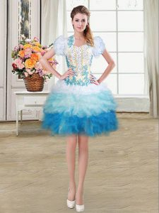 Popular Sweetheart Sleeveless Lace Up Prom Evening Gown Multi-color Organza